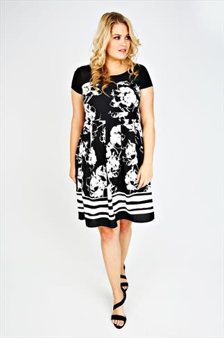 Black & White Blurred Rose Print Midi Dress With Chiffon Yoke