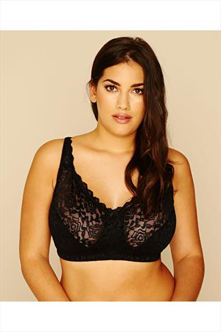 Black Hi Shine Lace Non Wired Bra
