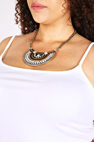 Plate Tribal Statement Necklace With Crystal Stones