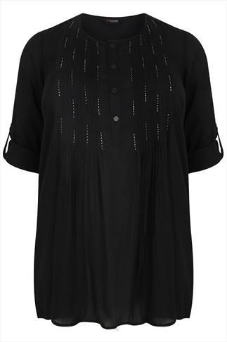 Black Pin-Tuck Longline Top With Bead Embellishment