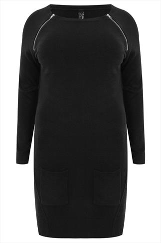 Black Supersoft Tunic With Front Pockets and Zip Detail