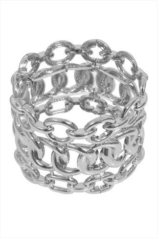 Silver Chunky Chain Stretch Bracelet