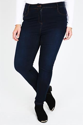 Indigo Blue Super Stretch Skinny Jeans With Brown Stitch Detail