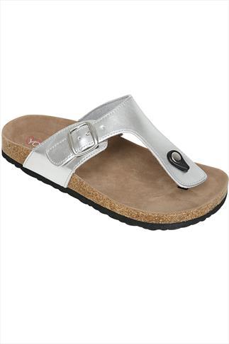 Silver Toe Post Cork Effect Sandal In A EEE Fit