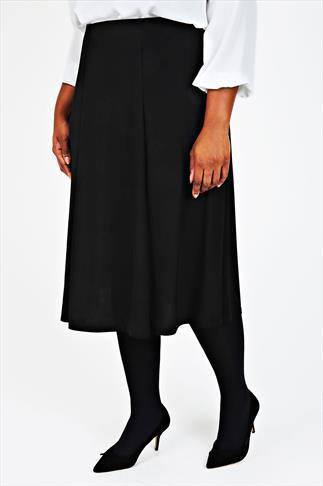 Black Midi Fit & Flare Skirt With Elasticated Waist