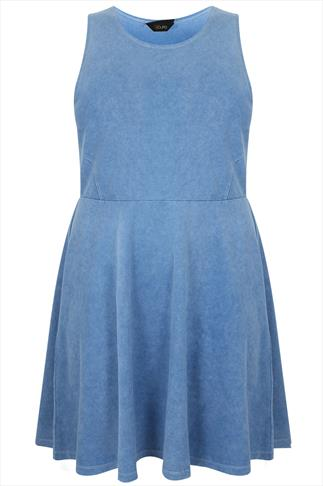 Blue Denim Wash Sleeveless Skater Dress