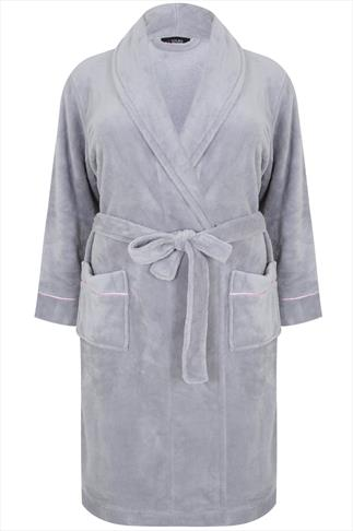 Gray Soft Fleece Dressing Gown With Pink Satin Pipping