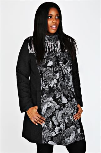 Black and Grey Floral Panel Coat With Collar