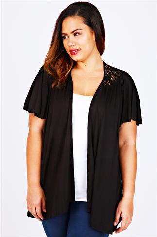 Black Jersey Short Sleeved Shrug With Crochet Detail