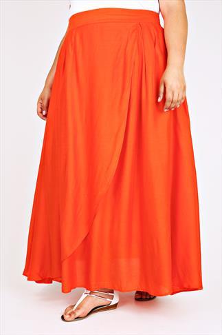 Orange Wrap Over Maxi Skirt