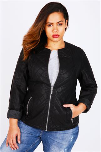 Black PU Collarless Biker Jacket With Mixed Quilting