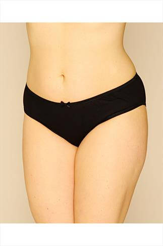 Black 3 Pair Pack Cotton Midi Briefs