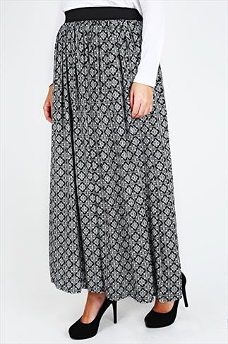 Black & White Moroccan Print Flare Skirt With Elasticated Waist