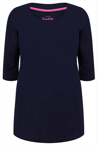 Navy Scoop Neckline T-shirt With 3/4 Sleeves