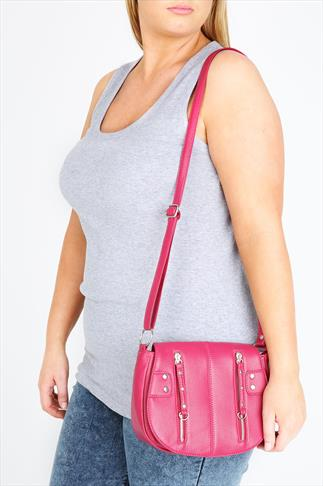 Raspberry Metal Zip Detailed Oval Bag With Body Strap