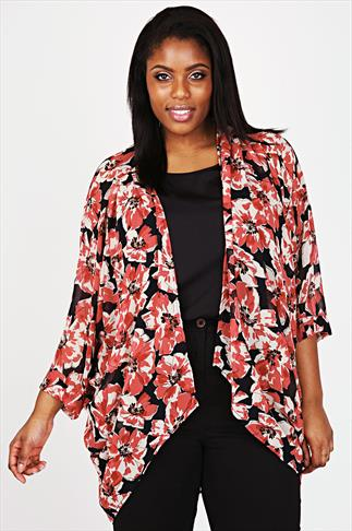 Black & Red Poppy Print Georgette Waterfall Front Longline Kimono