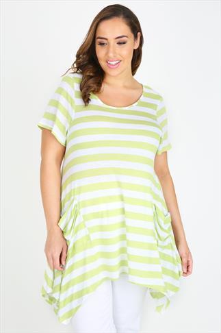 Lime & White Slub Stripe Longline Top With Hanky Hem