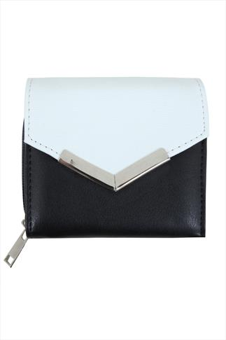 Black & White Purse With Textured Flap And Metal Trim Detail