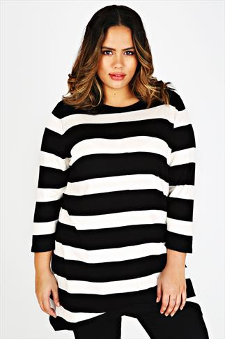 Black & Cream Stripe Longline Jumper With Zip Back