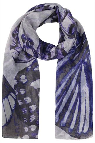 Blue, Purple And Grey Large Butterfly Print Scarf