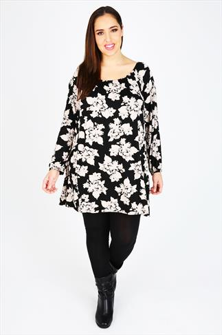Black & Stone Floral Print Long Sleeved Gypsy Style Tunic