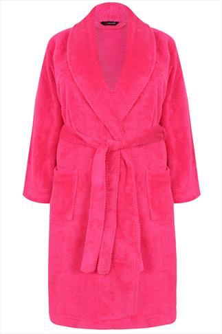Bright Pink Super Soft Fleece Dressing Gown With Pockets