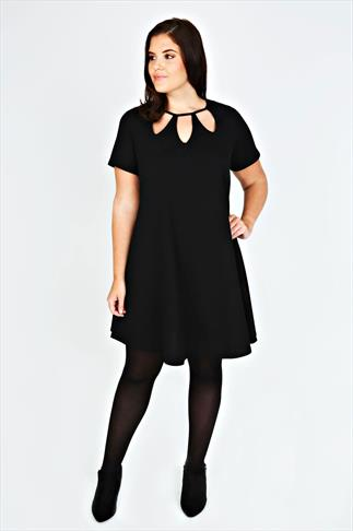 Black Cut Out Textured Swing Dress