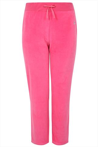 Bright Pink Velour Crown Detail Straight Leg Joggers