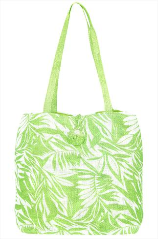 Lime Leaf Print Paper Straw Beach Bag