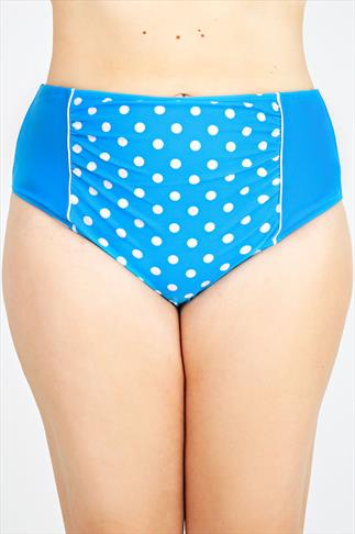 Blue Polka Dot Retro Tankini Brief