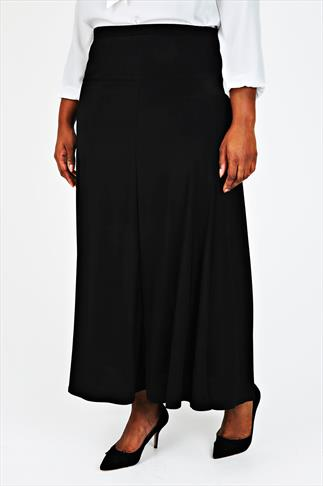 Black Panelled Maxi Skirt