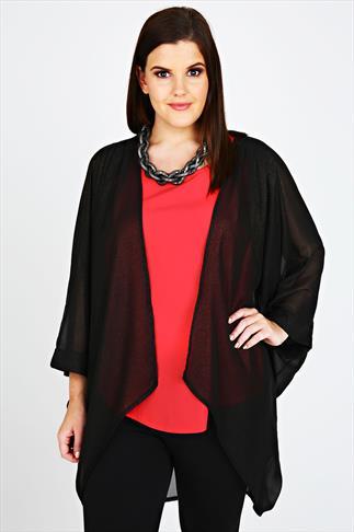 Black & Gold Glitter Pleat Shoulder Kimono