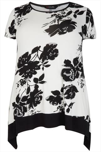 Black & White Floral Print Longline Top With Hanky Hem