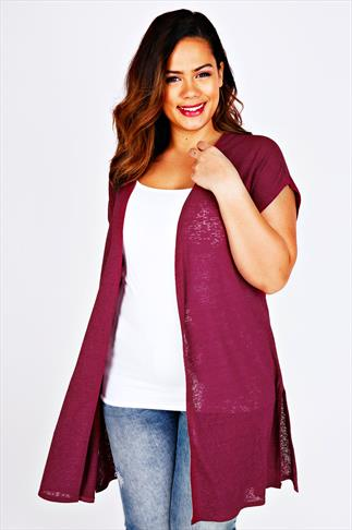Dark Pink Longline Knitted Shrug With Extended Shoulders