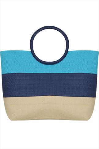 Blue & Natural Straw Striped Beach Bag With Round Handle