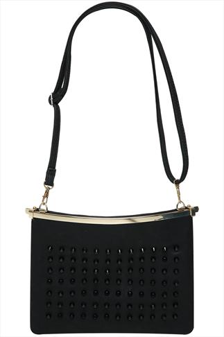 Black Studded Across The Body Bag With Large Clasp Fastening