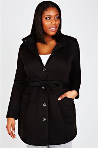 Black Fleece Trench style Coat With Waist Tie