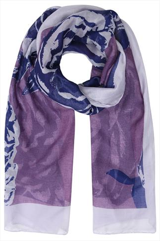Purple Rose Print Scarf With Grey Border