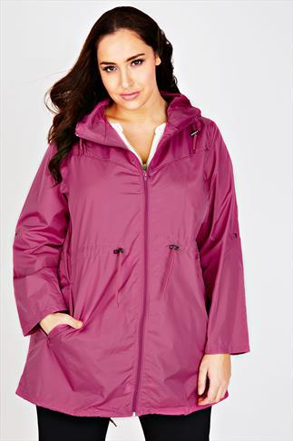 Magenta Shower Resistant Pocket Parka Jacket With Hood