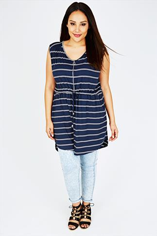 Navy & White Striped Jersey Tunic Dress