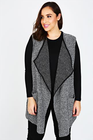 Grey & Black Bouclé Sleeveless Jacket