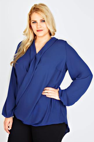 Cobalt Blue Chiffon Wrap Blouse With Long Sleeves