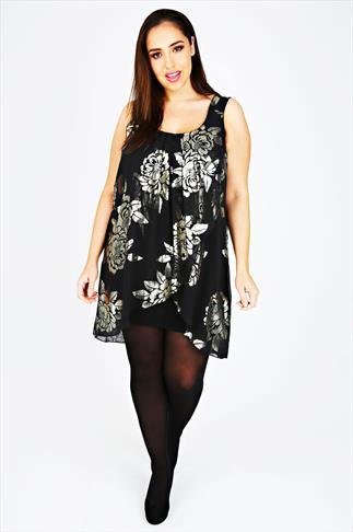 Black & Gold Rose Foil Print Chiffon Overlay Tunic Dress