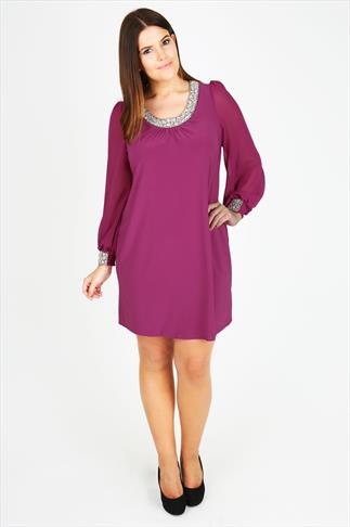 Magenta Chiffon Sleeved Dress With Silver Bead Embellishment
