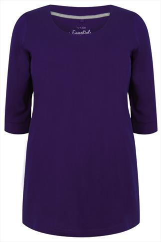 Purple Scoop Neckline Basic T-shirt With 3/4 Sleeves