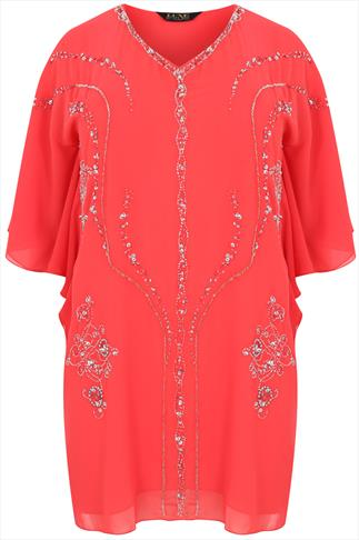 Bright Coral Angel Sleeve Longline Top With Sequin Embellishment