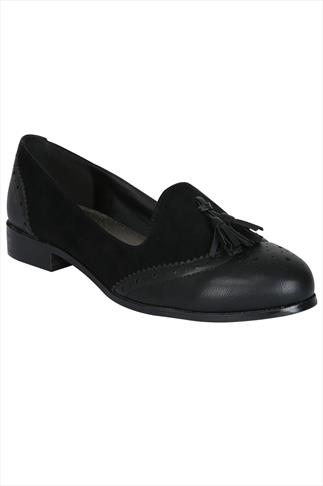 Black Tassel Slip On Brogue Shoes In EEE Fit