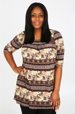 Brown & Multi Paisley Longline Top With Panelled Square Neckline