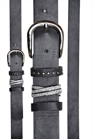 Black Jean Belt With Silver And Stud Detail Loops