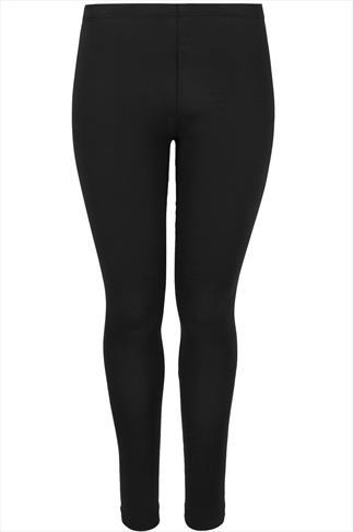 Black Cotton Elastane Leggings